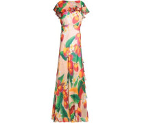 Peacock Tiered Silk-georgette Gown Peach
