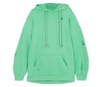 Distressed French-terry Hooded Sweatshirt Jade
