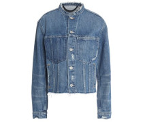 Frayed and distressed cropped denim jacket