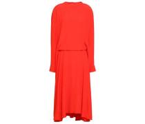 Flared Crepe De Chine Midi Dress Tomato Red