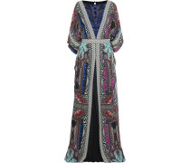 Embellished Leather-trimmed Printed Silk-chiffon Maxi Dress Multicolor