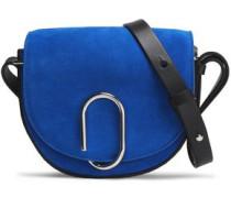 Leather-trimmed embellished suede shoulder bag