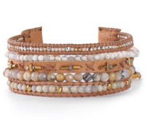 Leather multi-stone bracelet