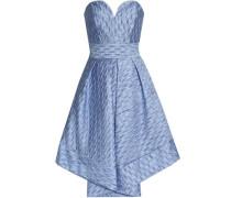 Strapless pleated cloqué-satin dress