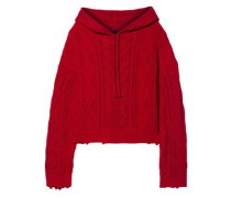 Distressed Metallic Cable-knit Cotton Hooded Sweater Red