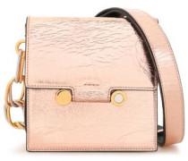 Woman Embellished Metallic Cracked-leather Shoulder Bag Rose Gold