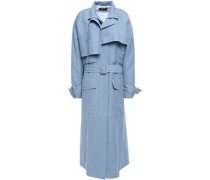 Woman Belted Linen, Wool And Silk Trench Coat Light Blue