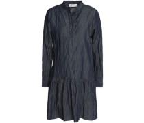 Pleated cotton-blend chambray mini shirt dress