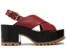 Leather Platform Sandals Brick