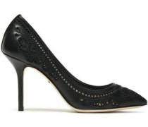 Broderie anglaise leather and mesh pumps