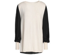 Ray crepe de chine-paneled silk, wool and cashmere-blend sweater