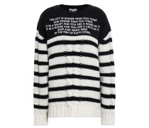 Embroidered French Terry-paneled Striped Cable-knit Wool And Cashmere-blend Sweater Black