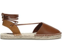 Lace-up leather and canvas espadrilles