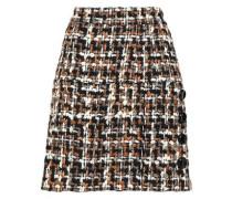 Button-embellished wool-blend bouclé-tweed mini skirt