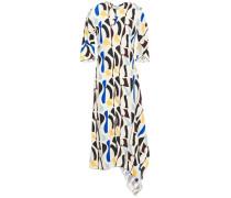 Draped Printed Crepe Midi Dress Ivory Size 14