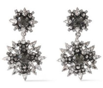 Alby Silver And Gunmetal-tone Crystal Earrings Silver Size --