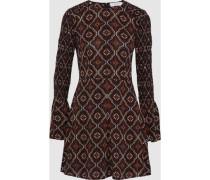 Alexa shirred printed silk-crepe mini dress
