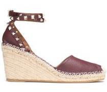 Rockstud Textured-leather Wedge Espadrilles Grape