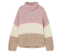 Convertible Striped Ribbed Alpaca-blend Sweater Lavender