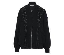Lace-up cotton-blend bomber jacket