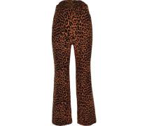 Leopard-print Cotton Bootcut Pants Animal Print