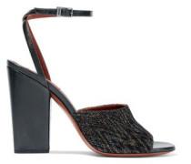 Metallic crochet-knit sandals