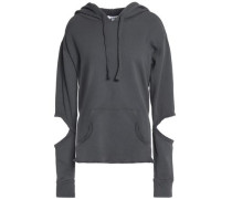 Cutout French cotton-terry hoodie