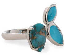 Sterling silver, turquoise and quartz ring