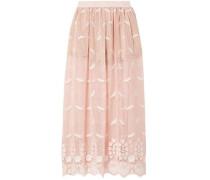 Paris Embroidered Cotton Macramé Lace Maxi Skirt Pastel Pink