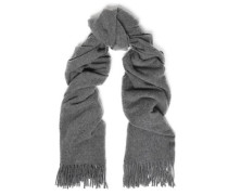 Fringe-trimmed brushed-wool scarf