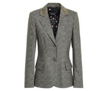 Embellished Wool-blend Blazer Gray