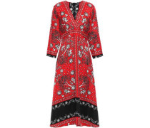 Printed Silk-twill Midi Dress Red