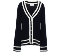 Intarsia Wool And Cashmere-blend Cardigan Navy