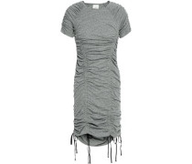 Ruched mélange jersey mini dress