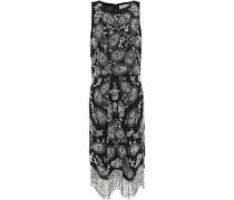 Woman Embellished Fringed Crepe Mini Dress Black