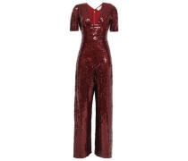 Sequined Georgette Jumpsuit Claret
