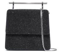 Metallic Cracked-leather Shoulder Bag Black Size --