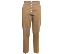 Cotton-blend Twill Tapered Pants Camel