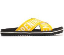 Berkeley Logo-print Faux Leather Slides Yellow