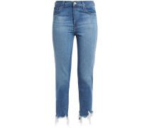 Woman Ruby Cropped Frayed High-rise Slim-leg Jeans Mid Denim