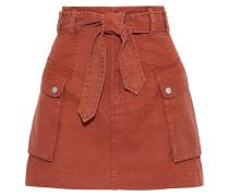 Woman Belle Belted Cotton Mini Skirt Tan