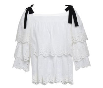 Bounty Bow-embellished Tiered Broderie Anglaise Cotton Top Off-white