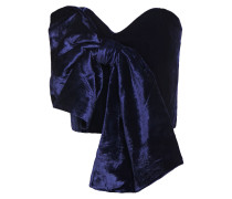 Woman Las Meninas Strapless Cropped Bow-embellished Velvet Bustier Top Navy