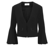 Cropped Crepe Blazer Black Size 00