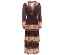 Woman Tiered Ruffled Printed Georgette Midi Dress Black