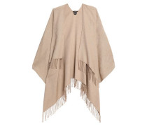 Fringe-trimmed cotton-blend jacquard wrap