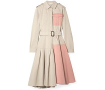 Belted Paneled Cotton-drill Dress Neutral