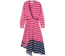 Flintoff wrap-effect striped two-tone silk-chiffon dress