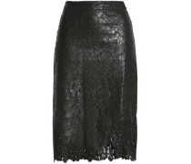 Wrap-effect coated corded lace skirt