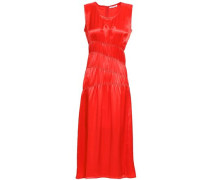 Ruched Satin Midi Dress Bright Orange Size 0